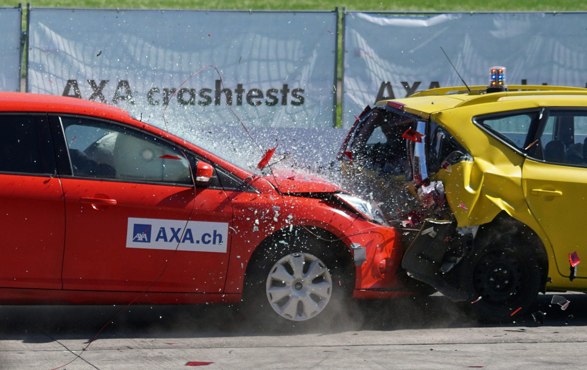 Car or motor vehicle accident with airbag deployed